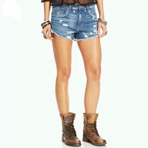 Free People Distressed Denim Jean Shorts Size 26